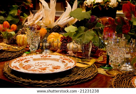 Thanksgiving Table Setting - stock photo