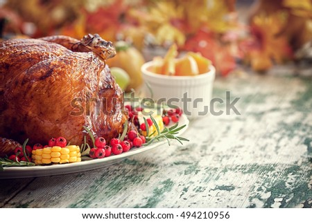 Thanksgiving Turkey dinner with copy space
