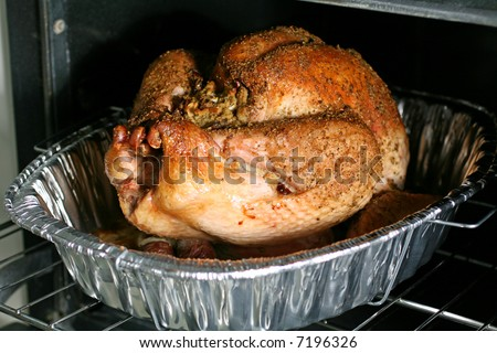 Thanksgiving Turkey in Oven