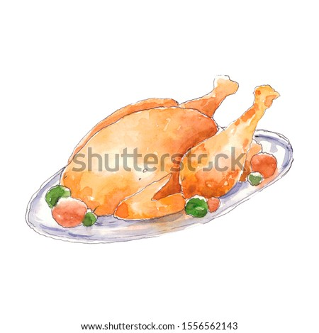 Thanksgiving watercolor clip art roast turkey on a plate in a skeptical style. Hand drawn isolated on a white background.