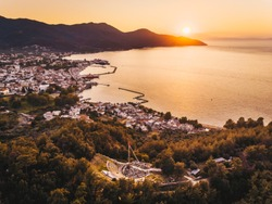 Thassos Island sunset at the Acropolis overlooking Limenas town or Thasos Town and harbour