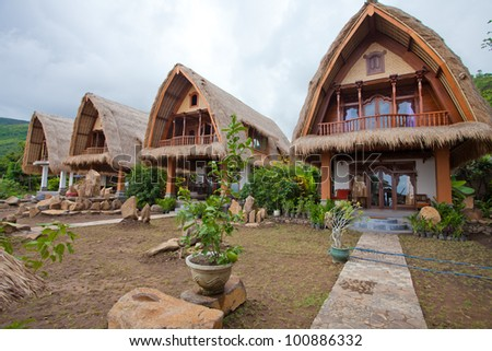 Thatch roof bungalow on the north east coast of Bali, Indonesia.