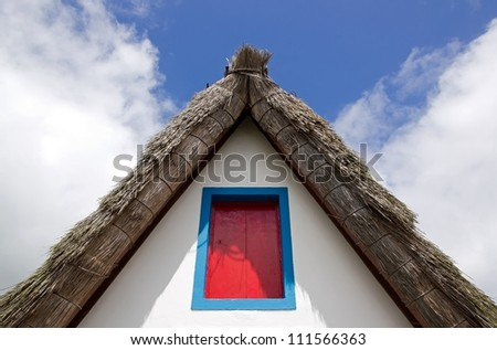 thatched roof of a typical house of Madeira - stock photo