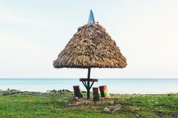 Thatched umbrella shading a picnic table on a sandy beach with rolling waves on a bright blue ocean in the background. California. consequences of a picnic