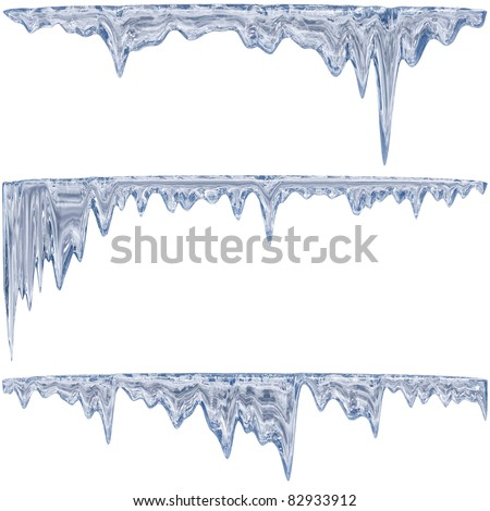 Thawing icicles of a blue shade with water droplets