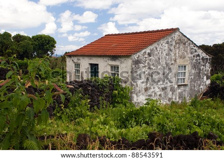 The abandoned stone house on Azores islands