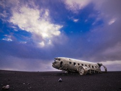 The abandoned US military plane wreck on beach near Vik, Southern Iceland