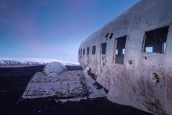 The abandoned wreck of a US military Douglas DC-3 plane on Solheimasandur beach near Vik, Southern Iceland