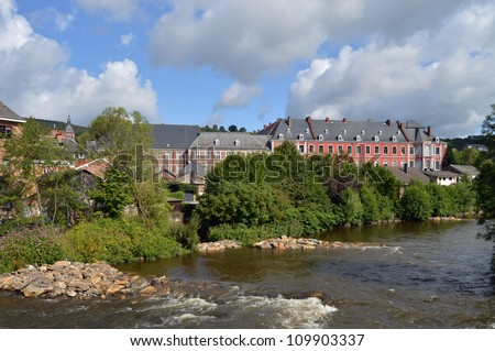 The Abbey of Stavelot at the Ambleve river