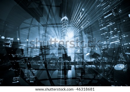 the abstract background about futurism,city,transprotation and globe. #46318681