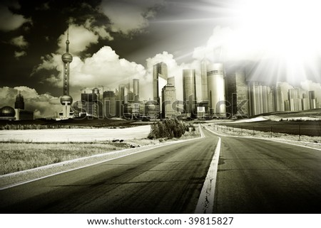 the abstract background of the road and city .