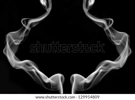 The abstract figure of the smoke on black background