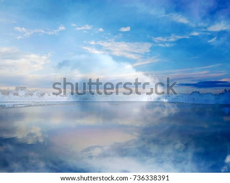 The abstract image of the clouds over the lake of the City Park at the sunset. The complex mixed image for the beautiful decoration of a modern smart home.   #736338391