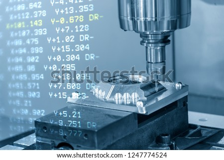 The abstract scene of  CNC milling machine and the G-code data cutting the mold part.The hi-precision CNC milling machine.