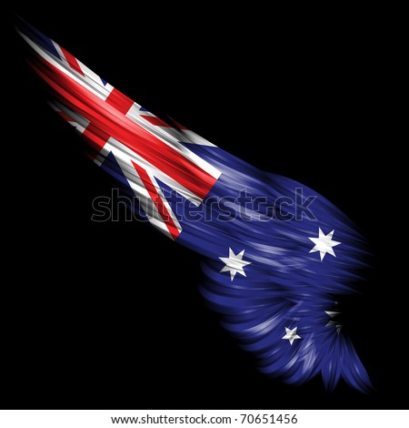 The Abstract wing with Australian flag on black background