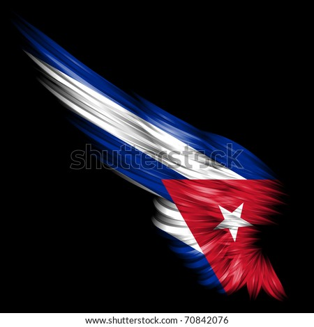 The Abstract wing with Cuba flag on black background