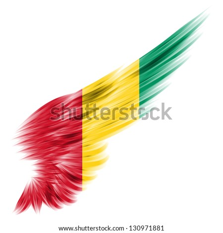 The Abstract wing with Guinea flag on white background
