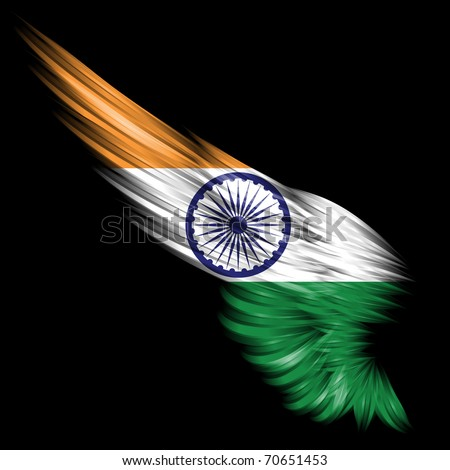 The Abstract wing with India flag on black background