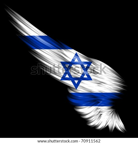 The Abstract wing with Israel flag on black background