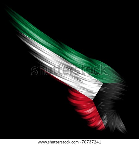 The Abstract wing with Kuwait flag on black background