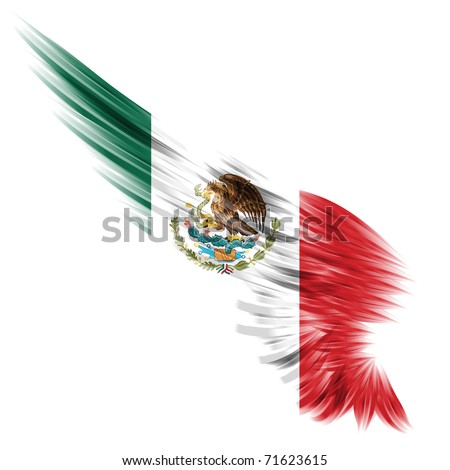 The Abstract wing with Mexico flag on white background