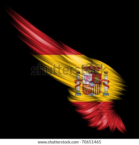 The Abstract wing with Spain flag on black background