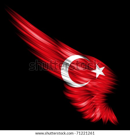 The Abstract wing with Turkey flag on black background