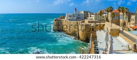 The Acre cityscape with the St John's church, surrounded by sea walls and old residential neighborhood, Israel.