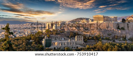 The Acropolis of Athens, Greece, with the Parthenon Temple during sunset
