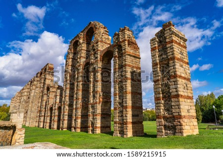 The Acueducto de los Milagros, Miraculous Aqueduct in Merida, Extremadura, Spain, part of the aqueduct built to supply water to the Roman colony of Emerita Augusta, today Merida, Spain.