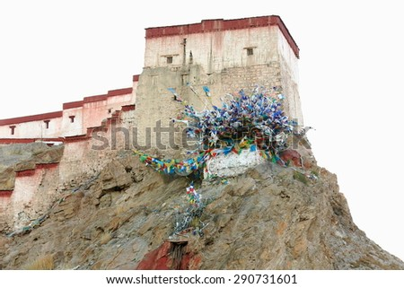 The 1394 AD.built Dzong-fort seen from the lower part of the town at 3977 ms. Gyantse city and county-Shigatse pref.-Tibet.