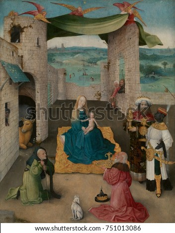 THE ADORATION OF THE MAGI, by Hieronymus Bosch, 1475, Netherlandish, Northern Renaissance painting. The Adoration of the Magi is presented in a stage-like setting with a curtain held aloft by angels.