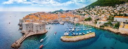 The aerial view of Dubrovnik, a city in southern Croatia fronting the Adriatic Sea, Europe
