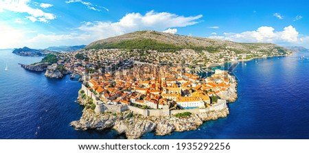 The aerial view of Dubrovnik, a city in southern Croatia fronting the Adriatic Sea, Europe Stock photo ©
