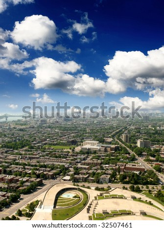 The aerial view of Olympic stadium and Montreal City - stock photo