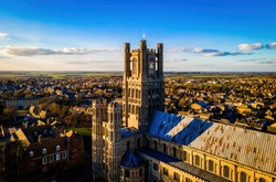 The aerial view of the cathedral of Ely, a city in Cambridgeshire, England, UK