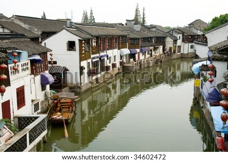 The aerial view of water town in China