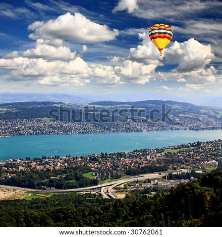 The aerial view of Zurich City and lake from the top of Mount Uetliberg