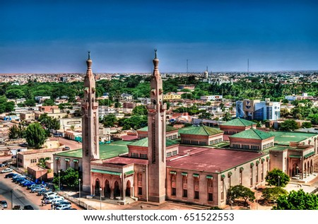 the aerial view to grand mosque ...