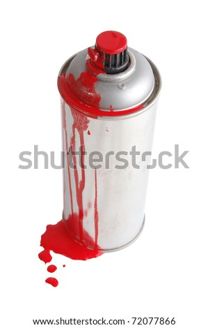 The aerosol painting spray soiled by a red paint isolated on white