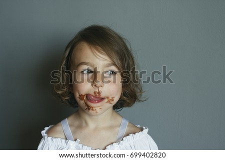The aftertaste from eating a chocolate dessert #699402820