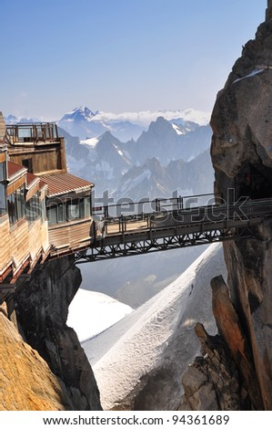 The Aiguille du Midi (3,842 m) is a mountain in the Mont Blanc massif in the French Alps