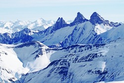 The Aiguilles d'Arves seen from the Pic Blanc (White peak) are at 3,514 meters (11,529 feet), Savoie department, French alps, France