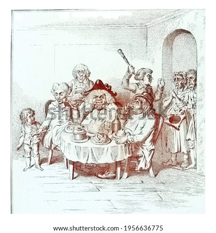 The Ailing Committee, vintage engraving. Foto stock ©