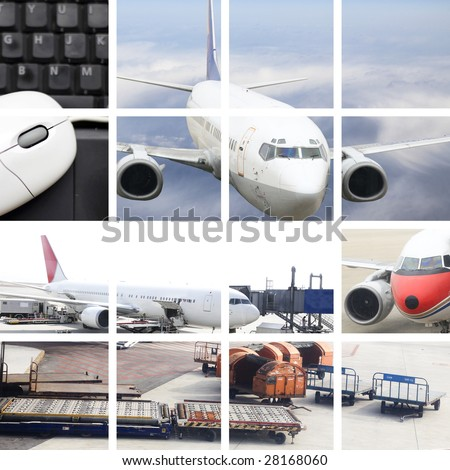 the air transport concept with the scene at airport.