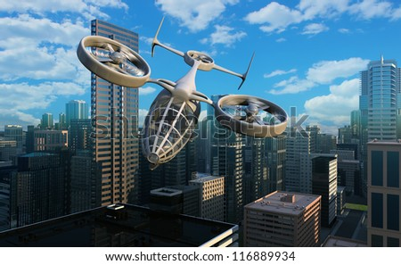 The aircraft of the future  on a background a city