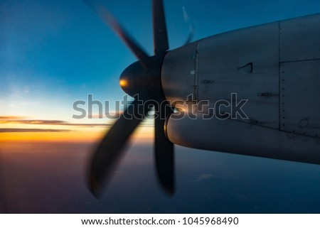 The aircraft's propeller is working on high angle shots