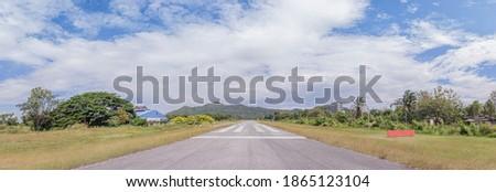 The airfield runway view at noon at rajamangala university of technology tawan-ok bangphra Chon Buri THAILAND panoramic.
