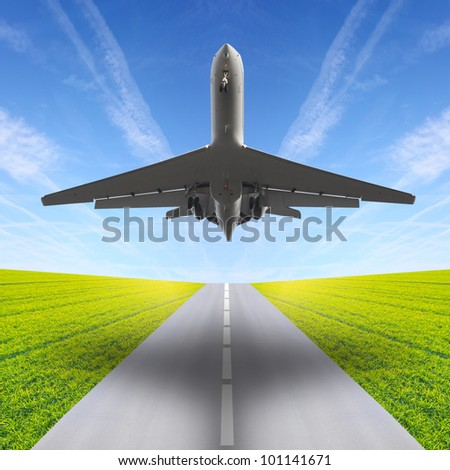 The airliner over a runway. Travel concept.