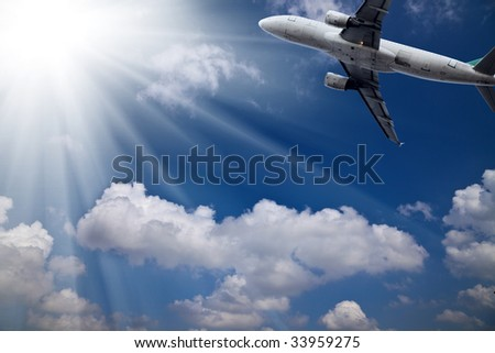the airplane with the sky background.